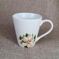 cheap price white porcelain mug with flower decoration